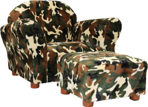 Fantasy Furniture Roundy Chair With Ottoman, Camo
