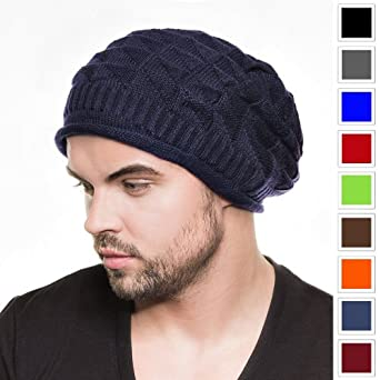 Distressed - Ripped Ballonmütze Slouch Long Beanie (navy)