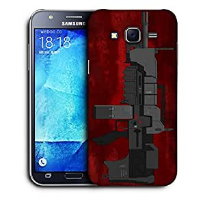 Snoogg Mini Machine Gun Red Designer Protective Back Case Cover For SAMSUNG GALAXY J7