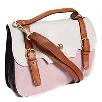 Ladies Pink/White Faux Leather Mini Satchel Style Faux Leather