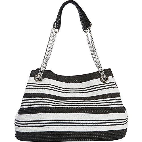 Magid Paper Straw Multi Stripe Chain Shoulder Bag (Black)