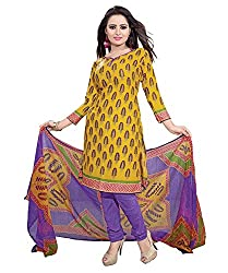 ZHot Fashion crepe Yellow Designer Printed Salwar Suit (ZHPK1012B)