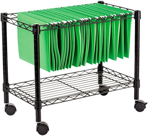 Alera Fw601424Bl Single-Tier Rolling File Cart, 24W X 14D X 21H, Black