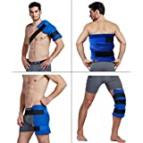 Koo-Care Large Flexible Gel Ice Pack & Wrap with Elastic Velcro Straps for Hot Cold Therapy - Great for Sprains, Muscle Pain, Bruises, Injuries ( Shoulder, Back, Hip, Thigh, Knee, Shin )(11