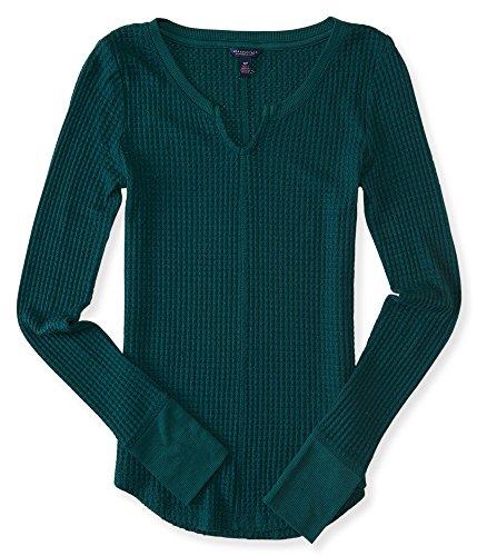 aeropostale-womens-long-sleeve-waffle-knit-top-l-eternal-green