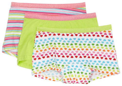 Fruit Of The Loom Big Girls' Girls' 3 Pack Fresh Collection Cotton Stretch Boyshort, Assorted, 6 front-1037650
