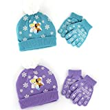 Frozen Elsa and Anna Girls Knit Hat with Gloves