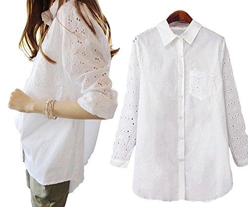 SUGAR PORT (シュガーポート) マタニティ ゆったり 飾り袖 白 シャツ レディース ファッション 大きいサイズ マタニティ J009 (サイズ:XL)