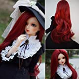 1/4 Bjd Wig Size 7-8 inch 1/4 High-Temperature Wig Girl Long Wave Curly Red Color Doll Hair SD BJD Doll Wig (Color: HTY133A, Tamaño: 1/4)