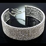 10 Row Large Silver & Diamante Crystal Statement Choker Necklace