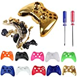 HDE Controller Shell Case Cover Replacement Kit for Xbox 360 w/ Button Set, Torx Screwdriver, & Crosshead Screwdriver (Gold)