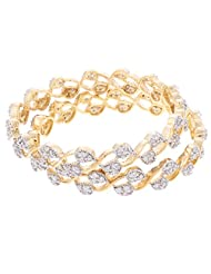 Signature Collection Jewelry Gold Plated CZ Stone Bangle Set For Women - B00QK1G0VQ
