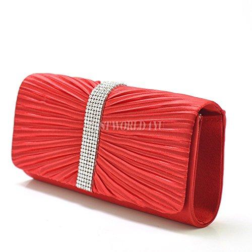 Wocharm (TM) Womens Satin Diamante Ladies Pleated Wedding Bridal Prom Handbag Clutch Bag (Red)