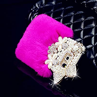 Spritech(TM) 3D Luxury Cristal Handmade Pearl Design White Back Case with Rabbit Hair Soft Fur Warm Hard Cover Case