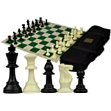 Tournament Roll-Up Staunton Chess Set w/ Travel Canvas Bag - Green