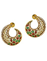 Touchstone Gold Plated With White Pearls And Multi Meenakari Earring - DGET-390-01PREG