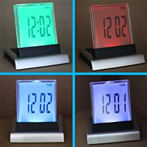 7 LED Digital Desk Alarm Clock + Thermometer Calendar