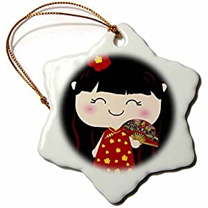 3dRose orn_76679_1 Cute Kawaii Cartoon Japanese Chinese Girl Doll in Traditional Red Gold Dress and Fan Snowflake Decorative Hanging Ornament, Porcelain, 3-Inch