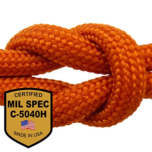 MilSpec Int'l Orange 110 ft. 8-Strand Hank Paracord. Guaranteed MIL-C-5040H Compliant, Military Survival 550 Parachute Cord, Type III. Made in U.S. 100% Nylon, 600 Lb. Break Strength, Free eBook. (1000 Rope compare prices)