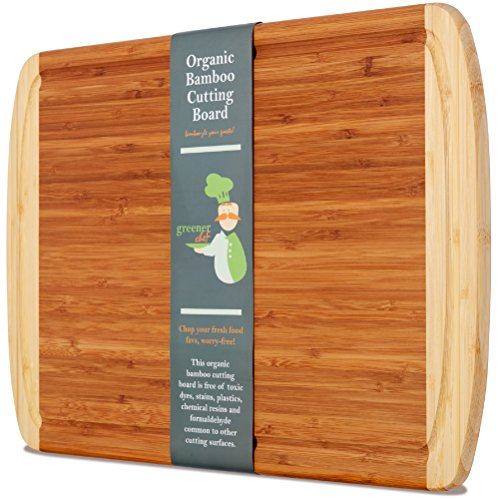 #1 Best ORGANIC Bamboo Wood Cutting & Kitchen Chopping Board with Groove - Extra Large, Thick, and Eco-Friendly - Perfect Christmas Holiday or Housewarming Gift (Wood Cutting Board Large compare prices)