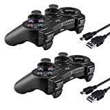 2 Pcs Kabi Wireless Bluetooth Controller for PS3,Double Shock Gamepad 6-Axis Remote Game Controller for Playstation 3 with Charging Cable(Black+Black)