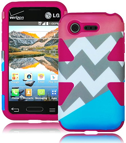 Bastex Heavy Duty Hybrid Case For Lg Optimus Fuel L34C - Soft Hot Pink Silicone Cover With Coral Pink & Sky Blue Split Chevron Design Hard Shell front-1062461
