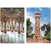 DollsofIndia Hathi Singh Jain Temple & Victory Tower (2 Postcards) 6 X 4 In.