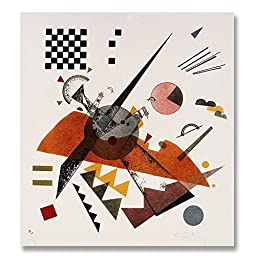 Wassily Kandinsky Orange 1923 Original Abstract Oil Painting Reproduction Hand painted on Rolled Canvas for Living Room Wall Decor - 46X48 inch