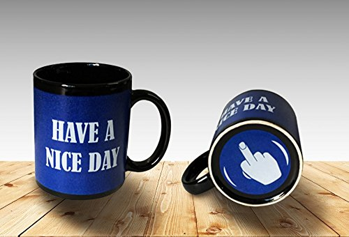 Funny Coffee Mug Have a Nice Day Middle Finger Funny Cup 11oz 100% Ceramic Mug Blue (Finger Coffee Cup compare prices)