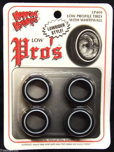 4 Low Pros Profile Whitewall Tires (for Hobby Model Kits) 1/24 1/25 scale