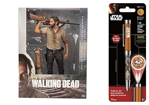"Action Figures The Walking Dead TV 10"" Rick Grimes Deluxe Figure & Free Star Wars Projector Pen, Colors may vary Toys"