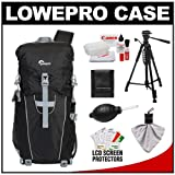 Lowepro Photo Sport Sling 100 AW Digital SLR Camera Backpack Case (Black) + Photo/Video Tripod + Canon Cleaning Kit for Canon EOS 7D, 5D Mark II III, 60D, Rebel T3, T3i, T2i Digital SLR Cameras
