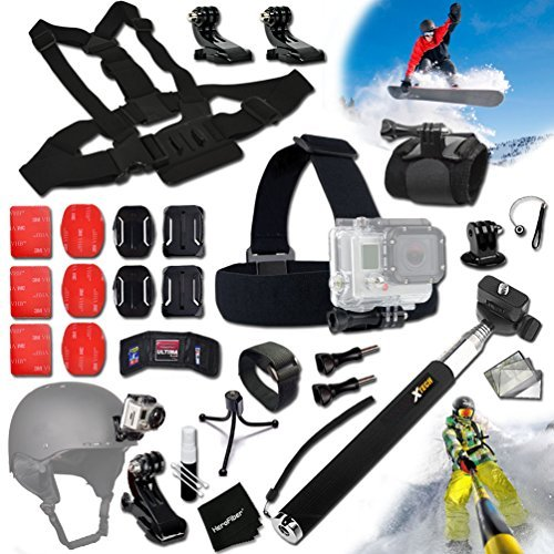 Xtech® SKATEBOARD ACCESSORIES Kit for GoPro Hero 4 3+ 3 2 1 Hero4 Hero3 Hero2, Hero 4 Silver, Hero 4 Black, Hero 3+ Hero3+ Hero 3 Silver, Hero 3 Black and for Skiing, Ski-Bobbing, Ski Jumping, Snowboarding, Skateboarding, Rollerblading, Skating, Ice