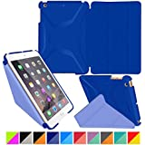 roocase iPad Mini 3 Case - Origami 3D iPad Mini Slim Shell Case Smart Cover with Sleep / Wake [Features Landscape, Portrait, Typing Stand] for Apple iPad Mini 3, 2 & 1, Palatinate Blue / Aruba Blue