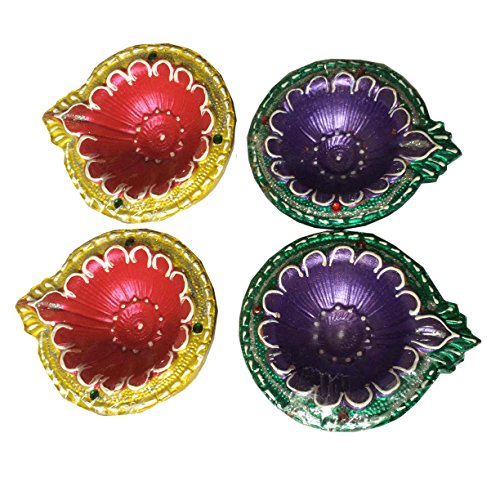 Assorted color Diwali Diya Set of 4, Perfect for Diwali Occasion