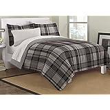 Loft Style Ultimate Plaid Ultra Soft Microfiber Bedding Comforter Set, Gray, Twin