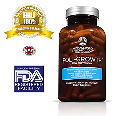 FoliGROWTH Ultimate Hair Formula with Biotin, Choline, Opti MSM - Thicker Stronger Longer Hair Growth Vitamin - Men and Women 90 Caps