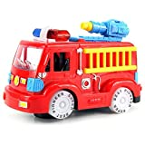 Deluxe Fire Engine Battery Operated Bump And Go Toy Truck W/ Flashing Lights, Sounds