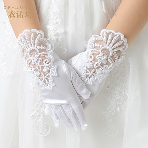 Tandi Girls Gorgeous Satin Fancy Stretch Dress Formal Pageant Party Gloves (Medium, White Embroidered)