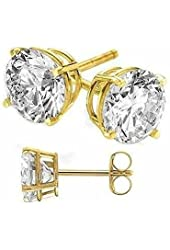 Gold Plated on Authentic 925 Sterling Silver Stud Earrings.round Cubic Zirconia Diamond Quality Stones