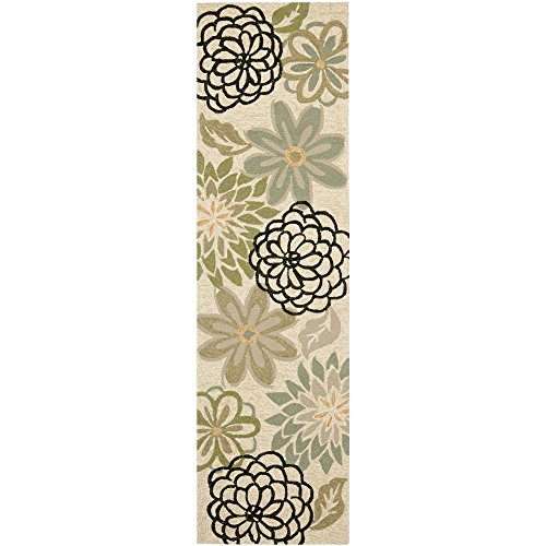 Safavieh Four Seasons Collection FRS224A Hand-Hooked Beige and Green Indoor/ Outdoor Runner, 2 feet 3 inches by 8 feet (2'3