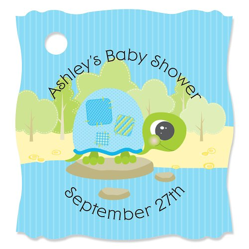 Blue Baby Turtle - Personalized Baby Shower Tags - 20 Ct front-800721