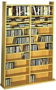 Leslie Dame CD-1000 High Capacity Vinyl Veneer Multimedia Rack, Oak