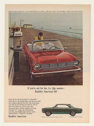 1965 AMC Rambler American 440 Convertible for Fun Print Ad (47011)