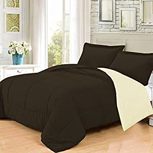 Tangkula 3 Pcs Down Alternative Reversible Comforter Sham Set Twin Full Queen King (Twin, Beige&Brown)