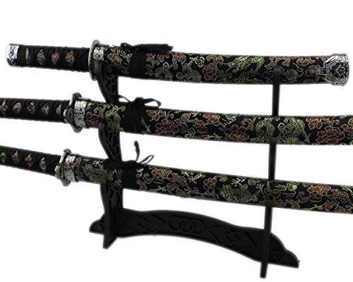 GYD Katana Hazori Hanto Deko-Schwerter Set 4-tlg mit Ständer für Sammler (Black)