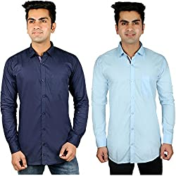 Nimegh Blue, Sky Blue Color Cotton Casual Slim fit Shirt For men's (Pack of 2)