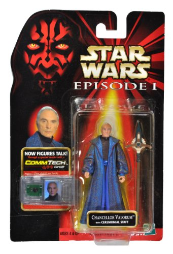 "Hasbro Year 1998 Star Wars Episode 1 ""The Phantom Menace"" CommTech Series 4 Inch Tall Action Figure - CHANCELLOR VALORUM with Ceremonial Staff and CommTech Chip (CommTech Reader is not Included) - 1"