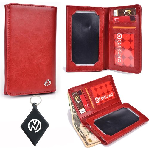 Red Universal Mens Wallet phone cover case fits Samsung Galaxy S Blaze 4G T769 NuVur Key Chain SMENBIR1