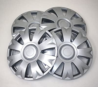 TuningPros WSC-715S14 Hubcaps Wheel Skin Cover 14-Inches Silver Set of 4